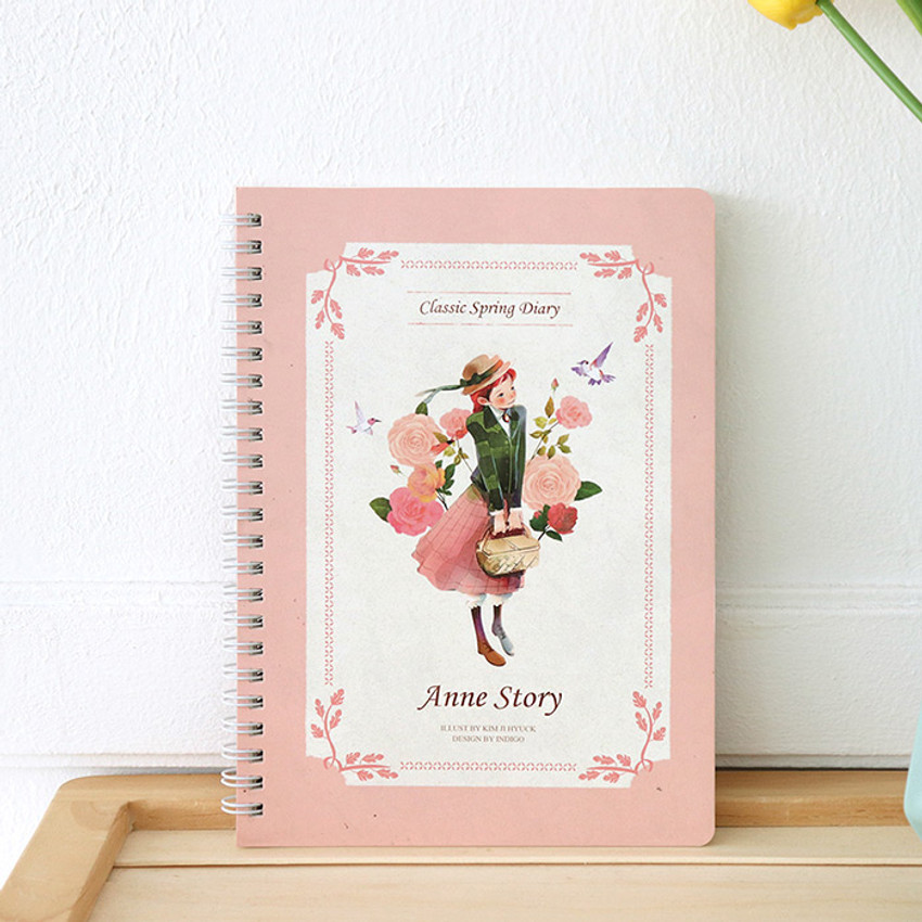 Pink - Anne story spiral undated monthly diary notebook