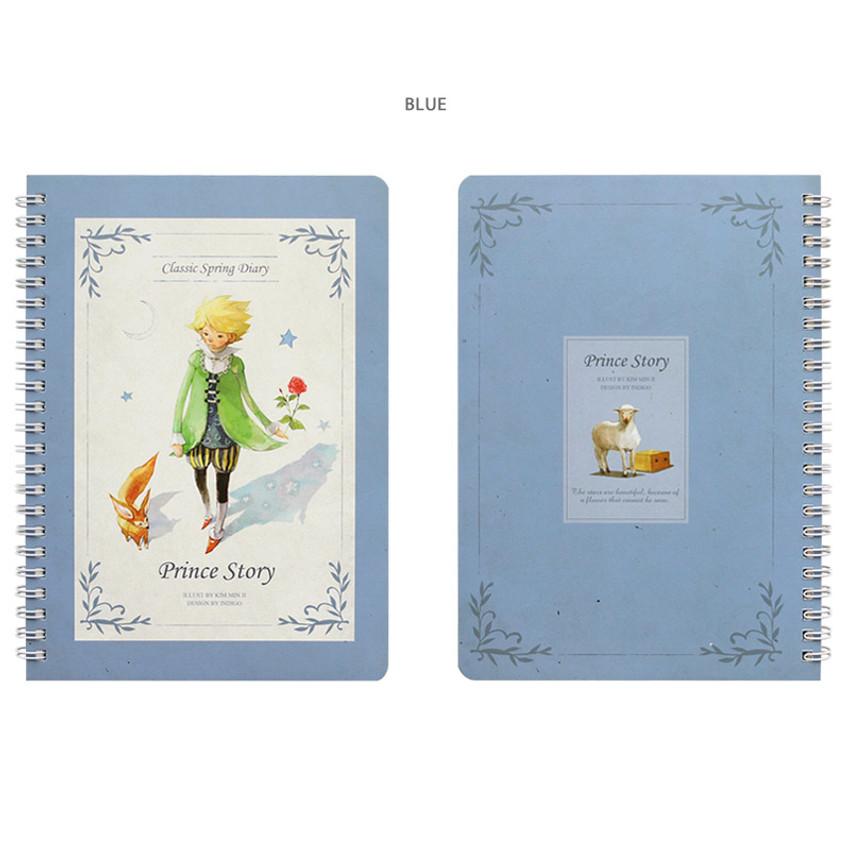 Blue - Little prince story spiral undated monthly diary