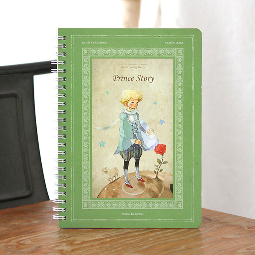 Green - Little prince story spiral undated monthly diary