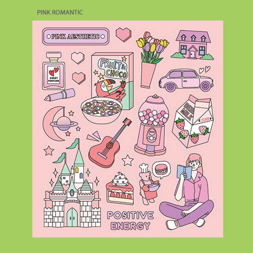 Pink romantic - Ardium Pop illustration colorful point paper sticker ver3