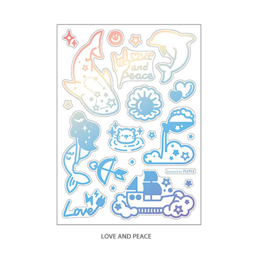 02 Love and peace - PLEPLE Coated hologram clear decoration sticker