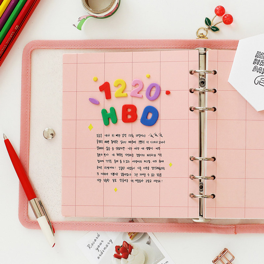 Usage example - 2NUL Cherry pick 6-ring dateless weekly diary planner