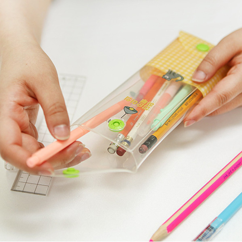 Detail of Monologue clear folding pencil case