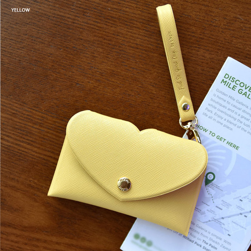 Yellow - Play Obje Lovely heart pocket card case holder with strap