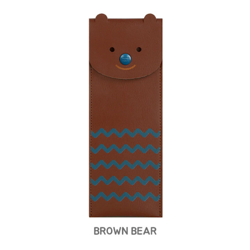 Brown bear - Monopoly Toffeenut pen case with elastic band holder