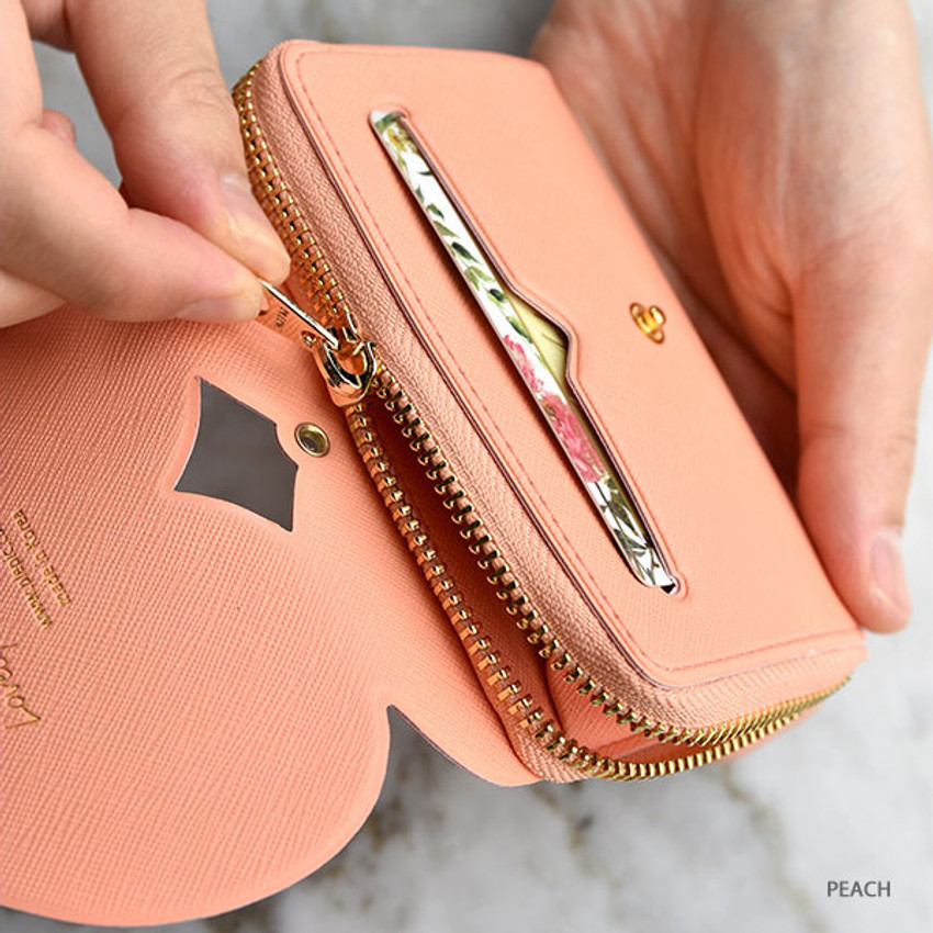 Peach - Play Obje Lovely heart PU zipper and snap button wallet