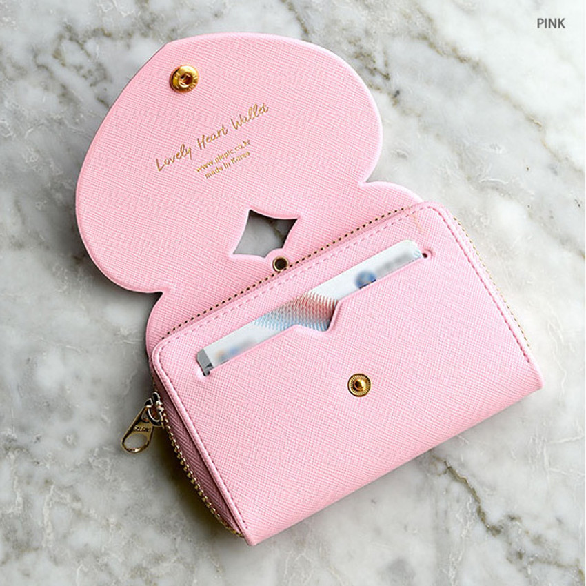 Pink - Play Obje Lovely heart PU zipper and snap button wallet