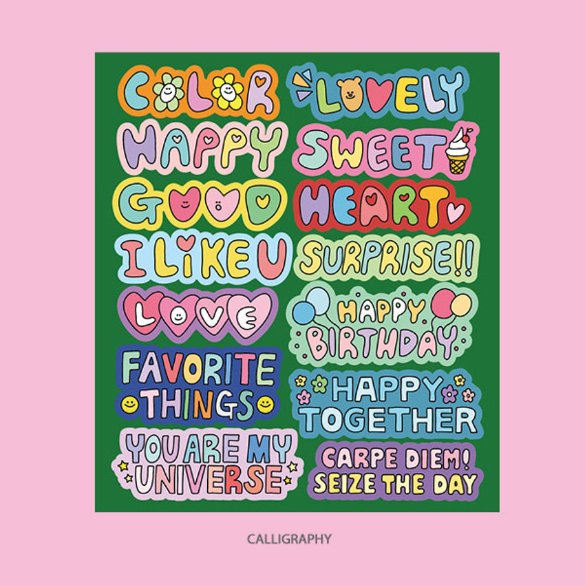calligraphy - Ardium Message colorful point paper sticker