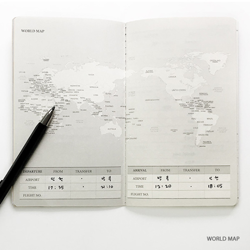 World map - O-CHECK Travel planner journal notebook