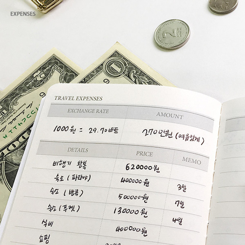 Expenses - Gray - O-CHECK Travel planner journal notebook