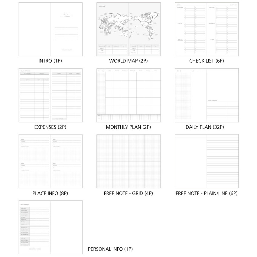 Composition - O-CHECK Travel planner journal notebook