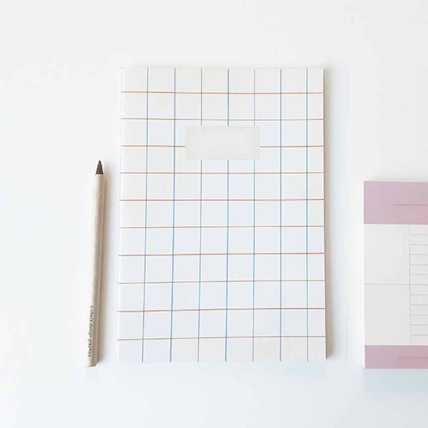 Pattern white - O-CHECK Bonne Pensee A5 size medium lined notebook