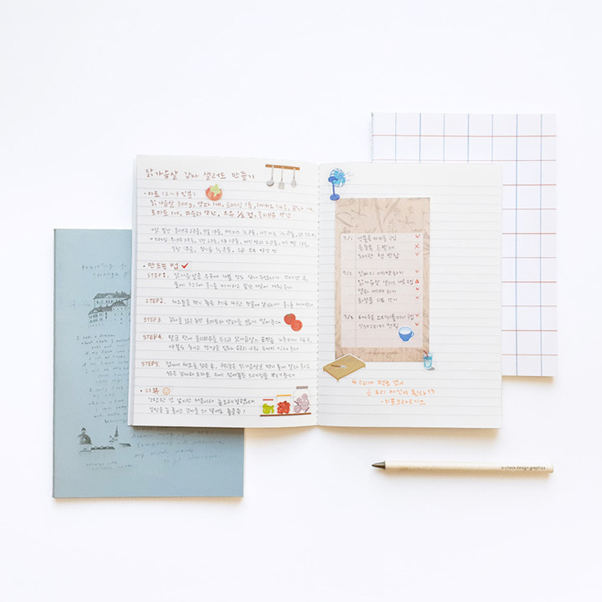 Usage example - O-CHECK Bonne Pensee A5 size medium lined notebook
