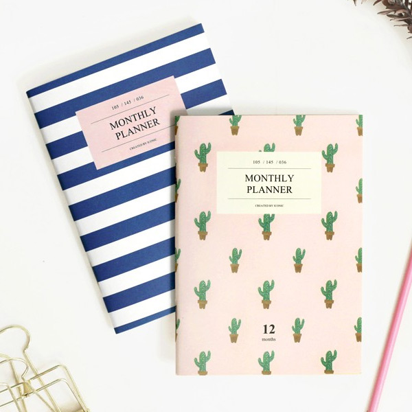 iconic simple and slim monthly planner a6 size ver 2