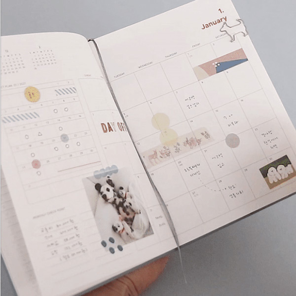 Two ribbon bookmarks - ICONIC 2021 Brilliant dated daily diary planner