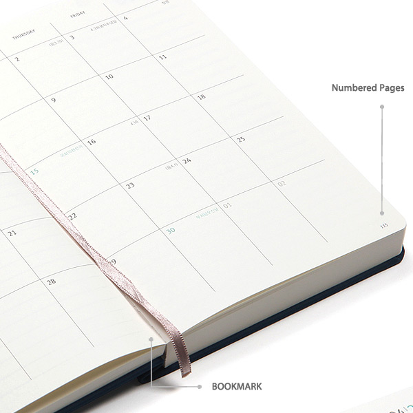 Bookmark & numbered pages - MINIBUS 2021 Traveler's dated daily diary scheduler