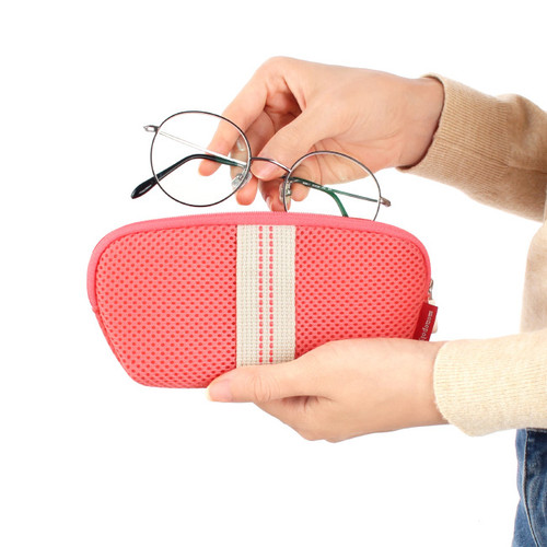 Zippered Pouch with Eyeglass Pocket