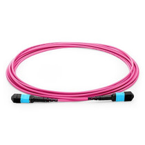 5m(16ft) MTP Female to MTP Female 12 Fibers OM4 50/125 Multimode Trunk Cable, Type A, Elite, LSZH, Magenta
