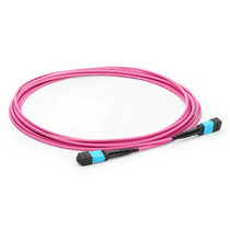 10m(33ft) MTP Female to MTP Female 12 Fibers OM4 50/125 Multimode Trunk Cable, Type A, Elite, LSZH, Magenta