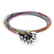 1M (3ft) 12 Fibers ST/UPC 9/125 Single Mode Color-Coded Fiber Optic Pigtail, Unjacketed