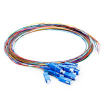 2M (7ft) 12 Fibers SC/UPC 9/125 Single Mode Color-Coded Fiber Optic Pigtail, Unjacketed