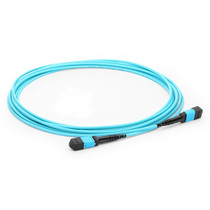 1m (3ft) MPO Female to MPO Female 12 Fibers OM3 50/125 Multimode Trunk Cable, Type B, Elite, LSZH, Aqua
