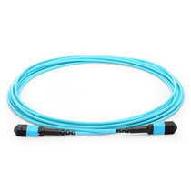 3m (10ft) MPO Female to MPO Female 12 Fibers OM3 50/125 Multimode Trunk Cable, Type B, Elite, LSZH, Aqua