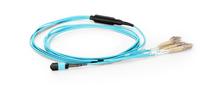 1m (3ft) MTP Female to 4 LC UPC Duplex 8 Fibers OM3 50/125 Multimode Breakout Cable, Type B, Elite, LSZH, Aqua