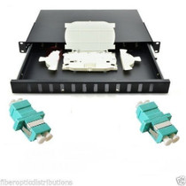 Fiber Optic Patch Panel 1U,Rackmount,12 Port Loaded LC Aqua Duplex