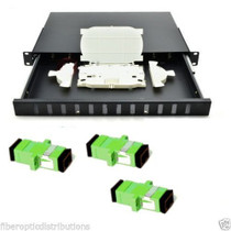 Fiber Optic Patch Panel 1U,Rackmount,12 Port Loaded SC/APC Duplex