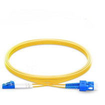 2m (7ft) Grade B LC UPC to SC UPC Duplex PVC(OFNR) OS2 Single Mode BIF Fiber Patch Cable, Typical 0.12dB IL