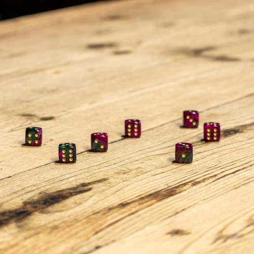 Chessex #26834 - Gemini Green-Purple / Gold d6 (36ct)