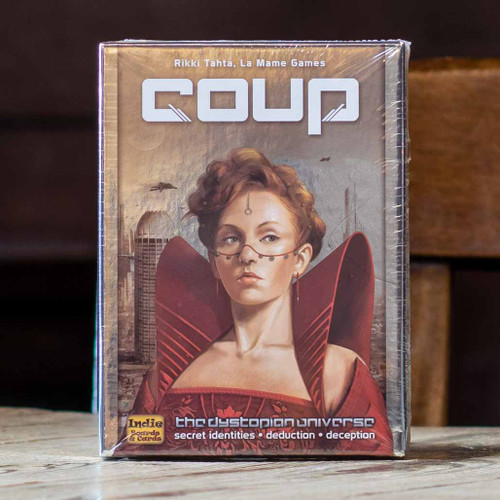 Mox Boarding House | Box front for Coup, a two to six player bluffing game
