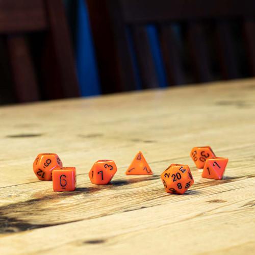 Chessex #25403 - Opaque Orange / Black Polyhedral (7ct)