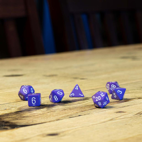 Chessex #25407 - Opaque Purple / White Polyhedral (7ct)