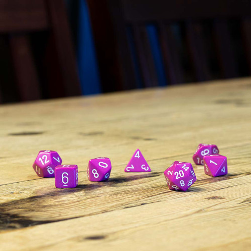 Chessex #25427 - Opaque Light Purple / White Polyhedral (7ct)