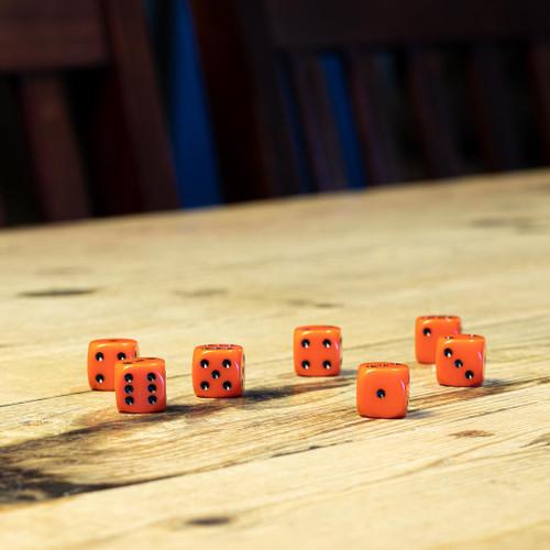 Chessex #25603 - Opaque Orange / Black d6 (12ct)