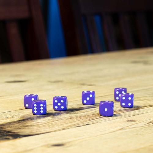 Chessex #25607 - Opaque Purple / White d6 (12ct)