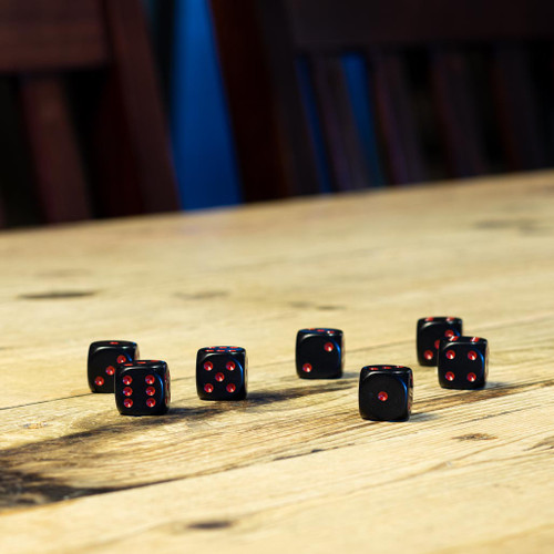 Chessex #25618 - Opaque Black / Red d6 (12ct)