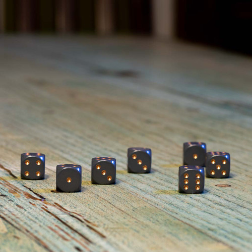 Chessex #25620 - Opaque Dark Grey / Copper d6 (12ct)