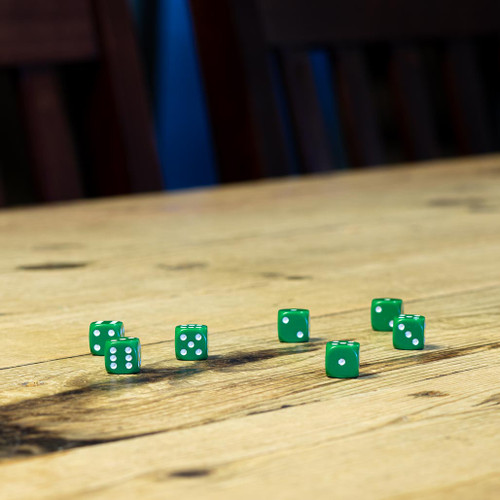 Chessex #25805 - Opaque Green / White d6 (36ct)