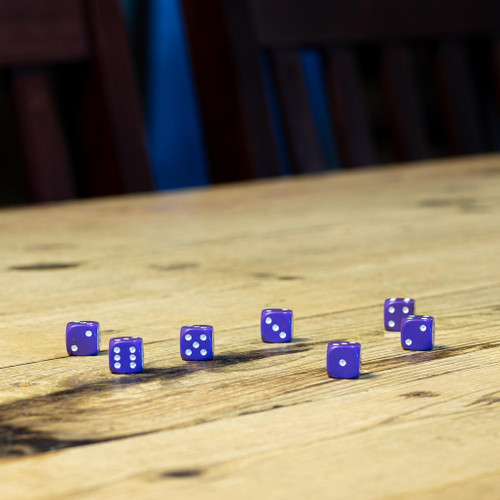 Chessex #25807 - Opaque Purple / White d6 (36ct)