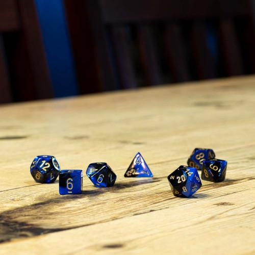 Chessex #26435 - Gemini Black-Blue / Gold Polyhedral (7ct)