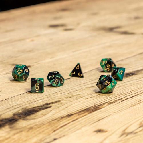Chessex #26439 - Gemini Black-Green / Gold Polyhedral (7ct)