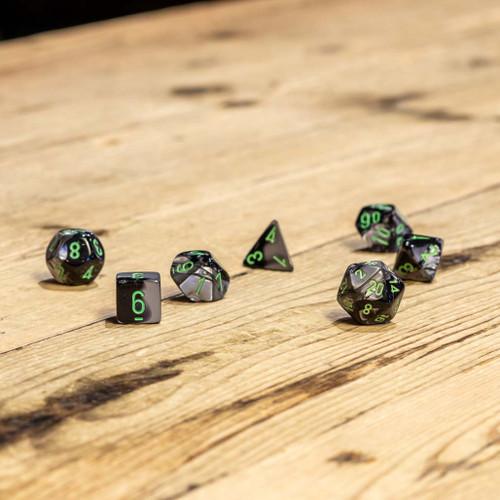 Chessex #26445 - Gemini Black-Grey / Green Polyhedral (7ct)