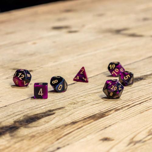 Chessex #26440 - Gemini Black-Purple / Gold Polyhedral (7ct)