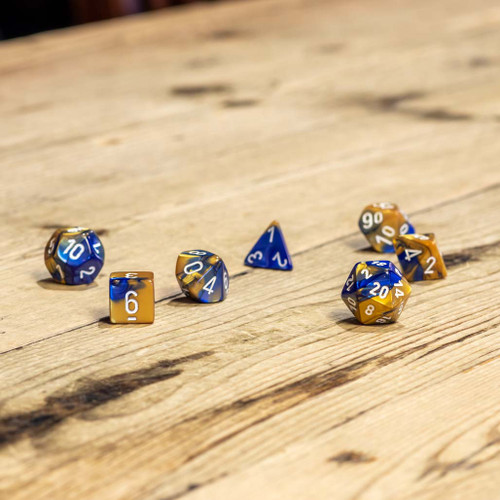 Chessex #26422 - Gemini Blue-Gold / White Polyhedral (7ct)