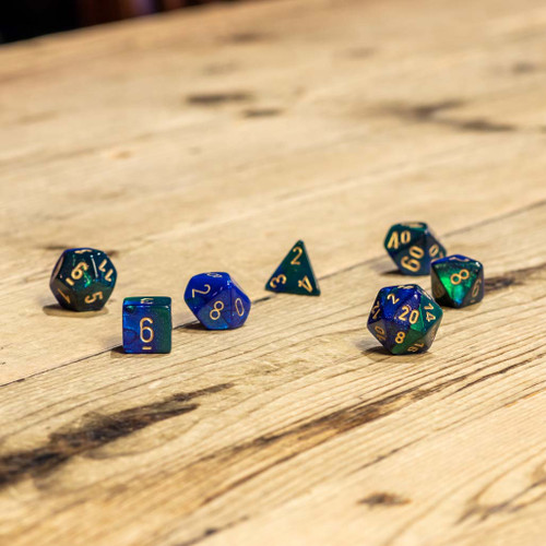 Chessex #26436 - Gemini Blue-Green / Gold Polyhedral (7ct)
