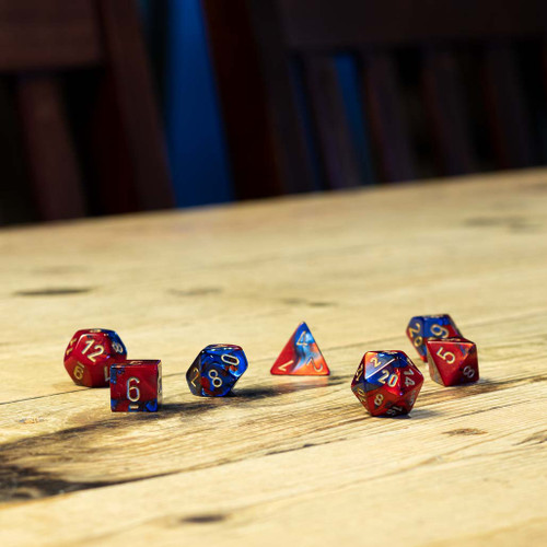 Chessex #26429 - Gemini Blue-Red / Gold Polyhedral (7ct)
