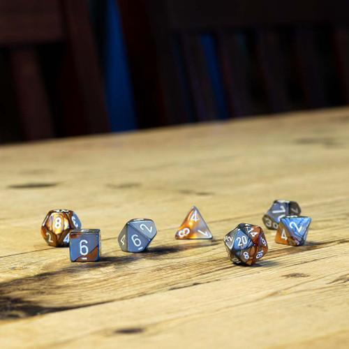 Chessex #26424 - Gemini Copper-Steel / White Polyhedral (7ct)